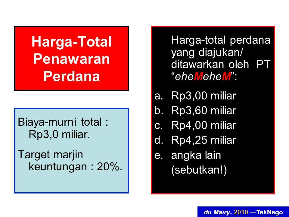 du Mairy, 2010 —TekNego Harga-Total Penawaran Perdana Biaya-murni total : Rp3,0 miliar.