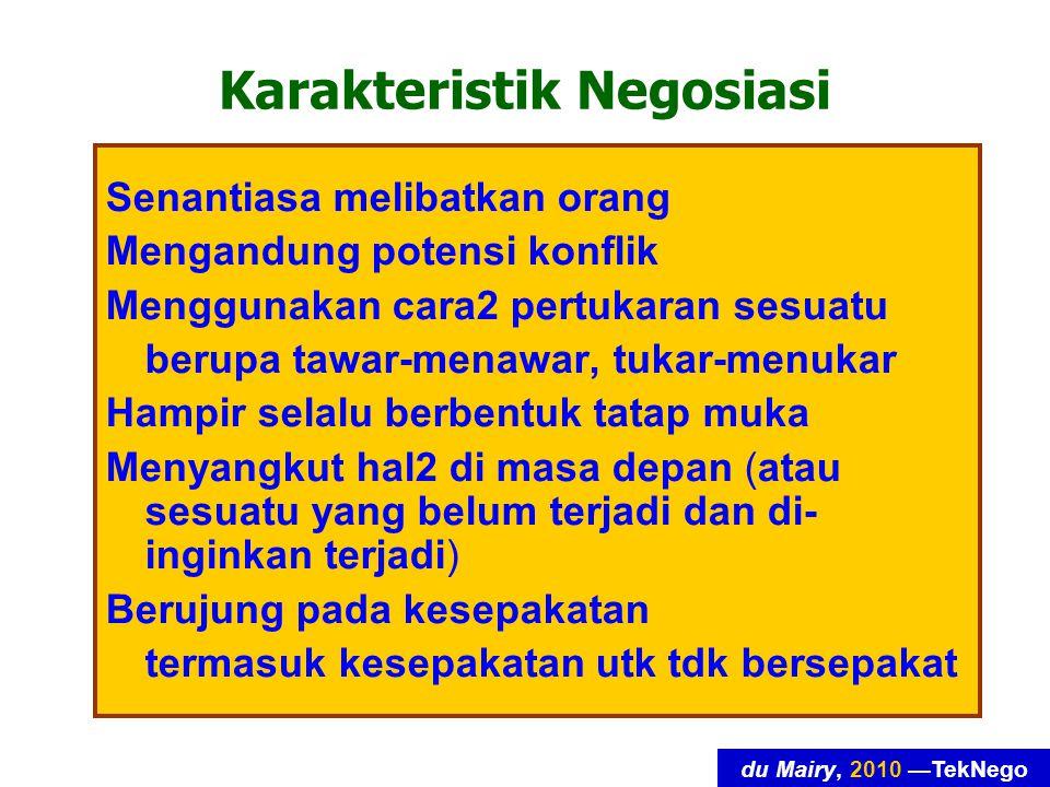 du Mairy, 2010 —TekNego Kaidah 5: Langkah catok Catok: pernyataan singkat yang (diharapkan) dapat memaksa lawan-runding untuk meninjau-ulang tawaran (atau penawaran)-nya.