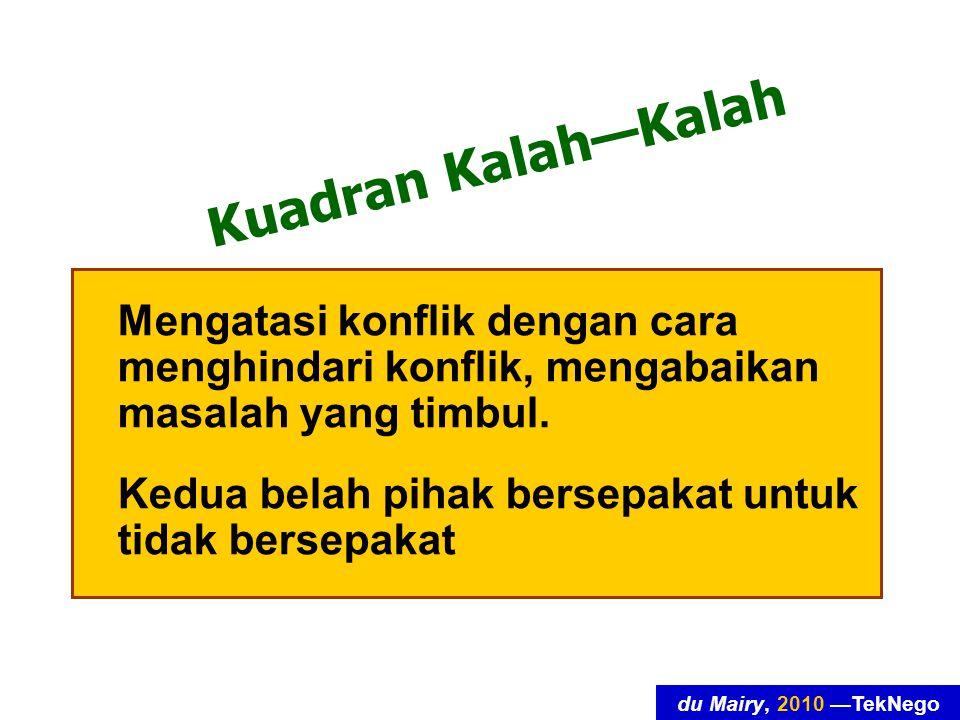 du Mairy, 2010 —TekNego Kuadran Kalah—Menang Kita sebagai pecundang (pihak yang mengalah, mengakomodasi kepentingan pihak lawan-runding).