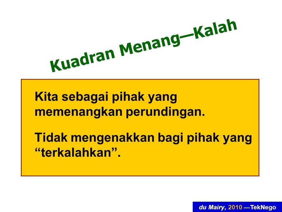 du Mairy, 2010 —TekNego Kuadran Menang—Kalah Kita sebagai pihak yang memenangkan perundingan.