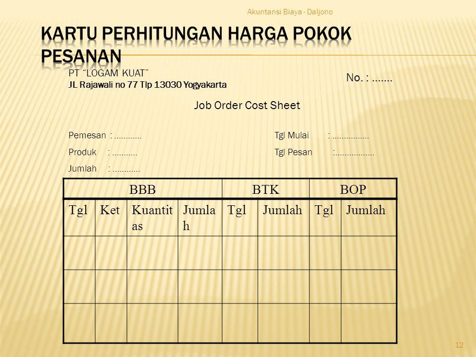 "Akuntansi Biaya - Daljono 12 PT ""LOGAM KUAT"" JL Rajawali no 77 Tlp 13030 Yogyakarta Job Order Cost Sheet Pemesan : ………… Produk : ……….. Jumlah : ………… N"