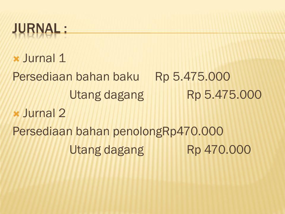  Jurnal 1 Persediaan bahan bakuRp 5.475.000 Utang dagang Rp 5.475.000  Jurnal 2 Persediaan bahan penolongRp470.000 Utang dagang Rp 470.000