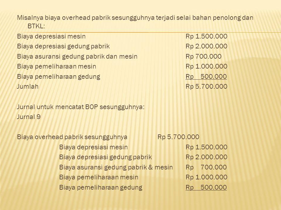 Misalnya biaya overhead pabrik sesungguhnya terjadi selai bahan penolong dan BTKL: Biaya depresiasi mesinRp 1.500.000 Biaya depresiasi gedung pabrikRp