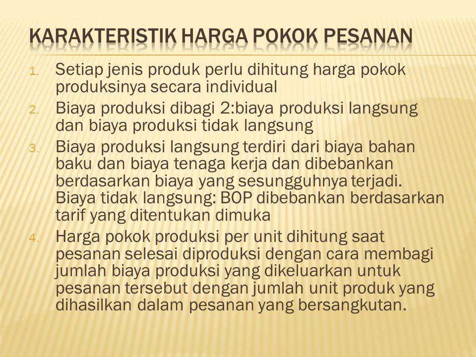 1. Setiap jenis produk perlu dihitung harga pokok produksinya secara individual 2. Biaya produksi dibagi 2:biaya produksi langsung dan biaya produksi