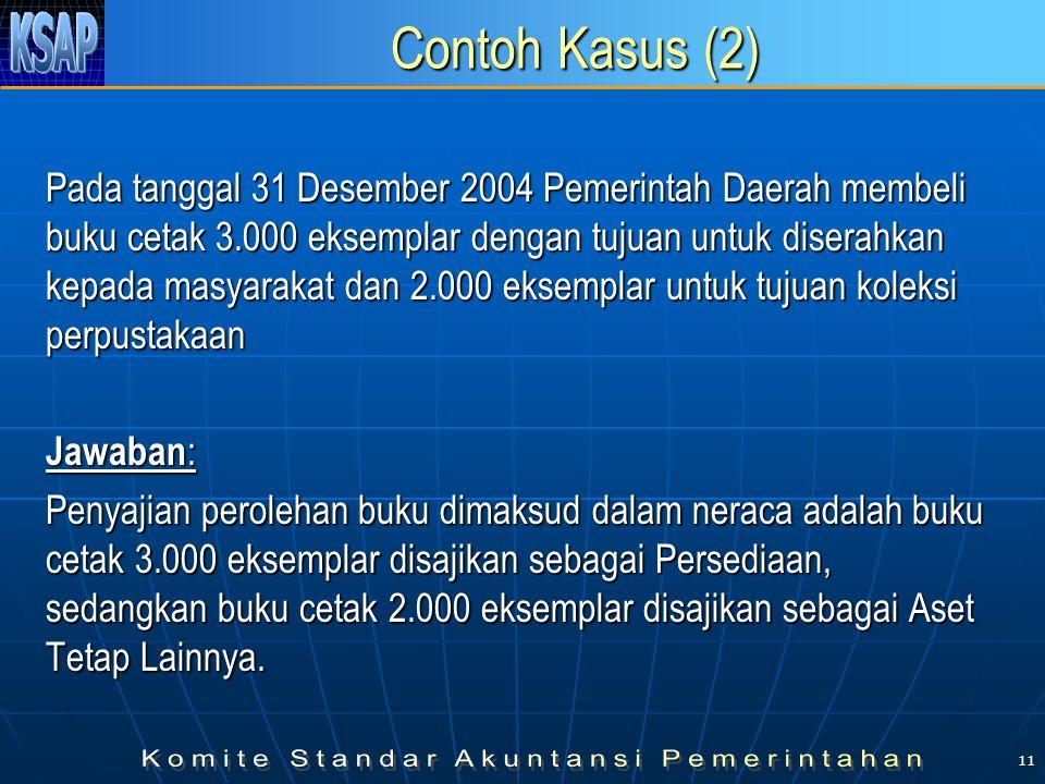 11 Contoh Kasus (2) Pada tanggal 31 Desember 2004 Pemerintah Daerah membeli buku cetak 3.000 eksemplar dengan tujuan untuk diserahkan kepada masyaraka