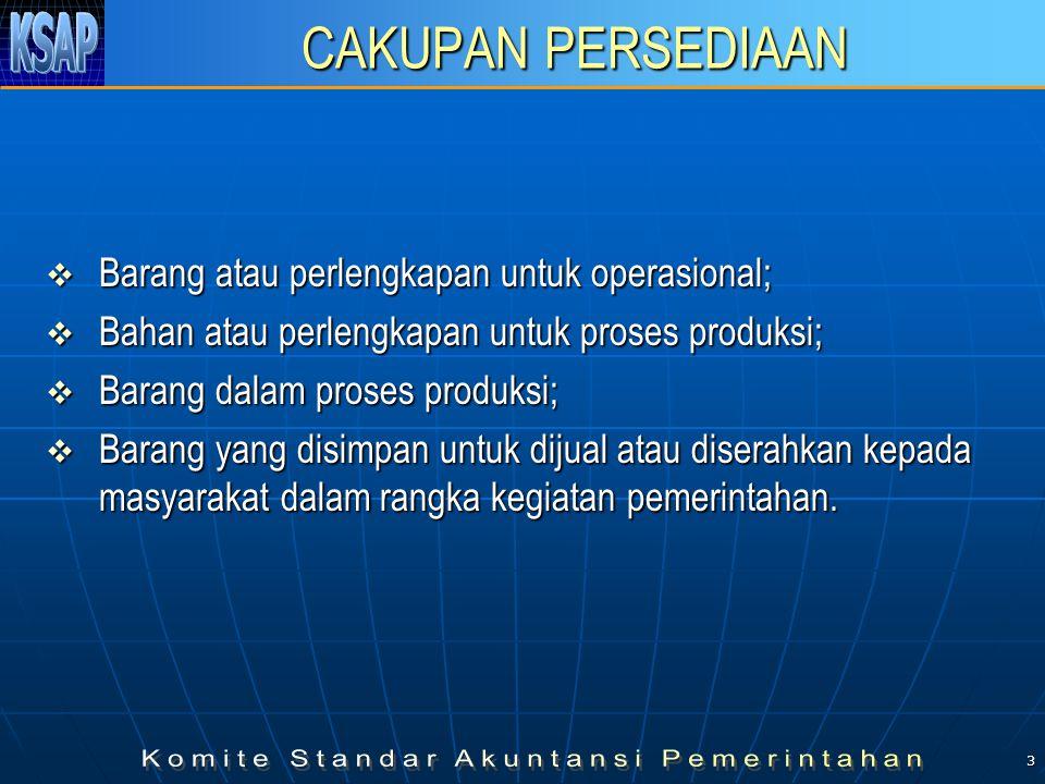 3 CAKUPAN PERSEDIAAN  Barang atau perlengkapan untuk operasional;  Bahan atau perlengkapan untuk proses produksi;  Barang dalam proses produksi; 