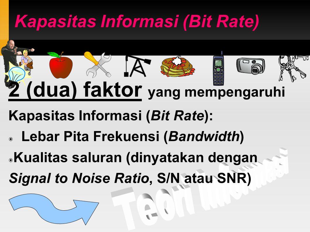 Kapasitas Informasi (Bit Rate) 2 (dua) faktor yang mempengaruhi Kapasitas Informasi (Bit Rate): ◉ Lebar Pita Frekuensi (Bandwidth) ◉ Kualitas saluran (dinyatakan dengan Signal to Noise Ratio, S/N atau SNR)