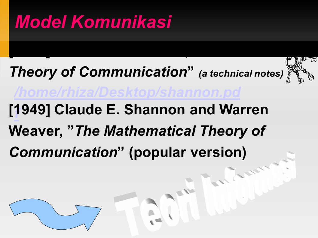 "Model Komunikasi [1948] Claude E. Shannon, ""A Mathematical Theory of Communication"" (a technical notes)‏ /home/rhiza/Desktop/shannon.pd f [1949] Claud"