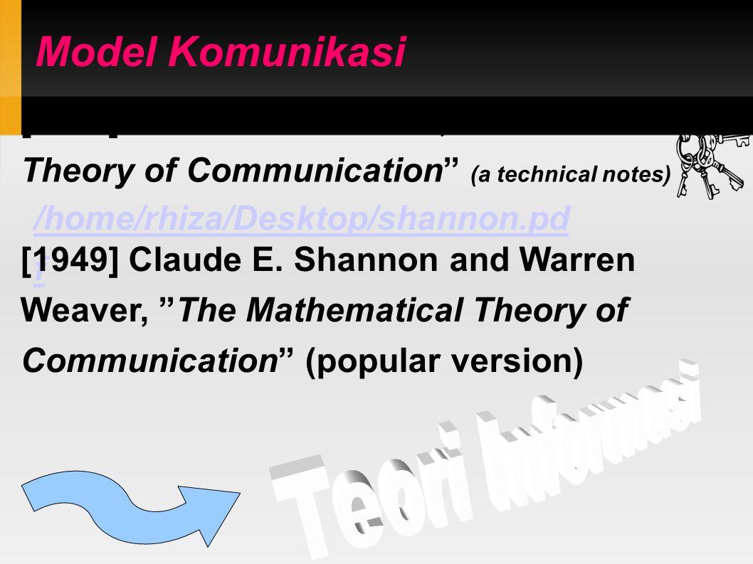 Model Komunikasi [1948] Claude E.