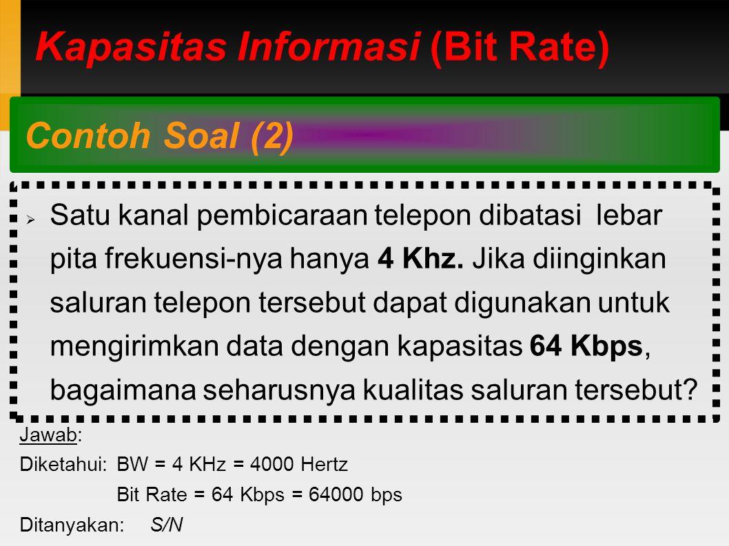 Kapasitas Informasi (Bit Rate) Contoh Soal (2)  Satu kanal pembicaraan telepon dibatasi lebar pita frekuensi-nya hanya 4 Khz.