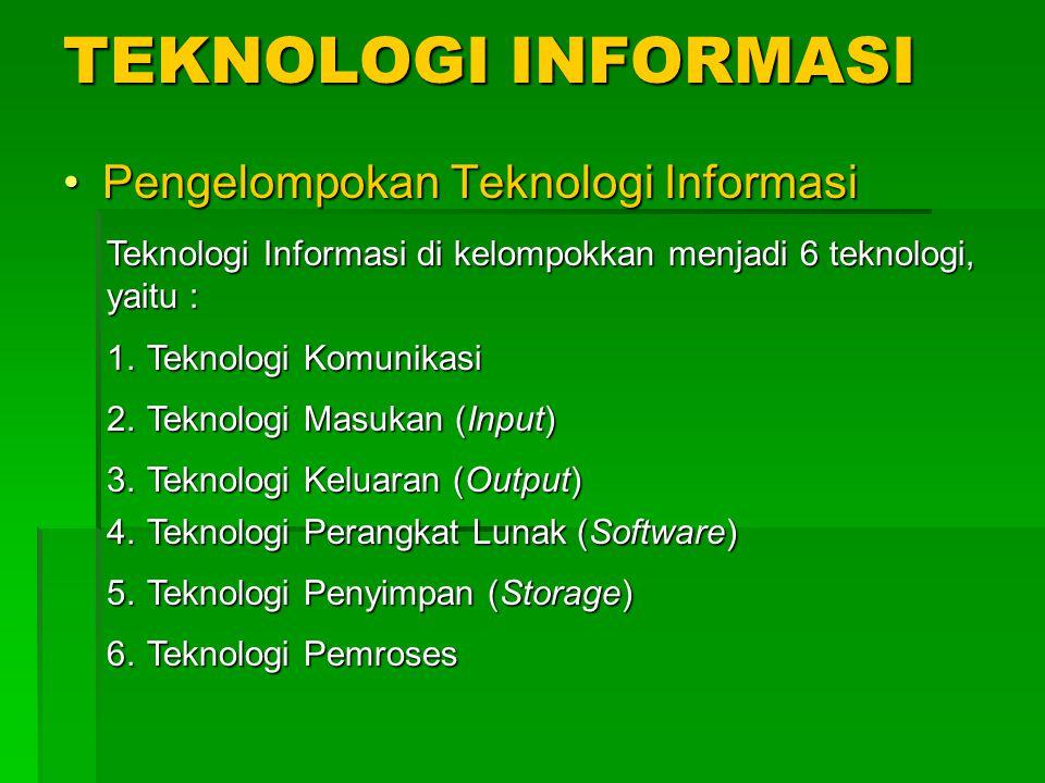 TEKNOLOGI INFORMASI Pengelompokan Teknologi InformasiPengelompokan Teknologi Informasi Teknologi Informasi di kelompokkan menjadi 6 teknologi, yaitu : 1.Teknologi Komunikasi 2.Teknologi Masukan (Input) 3.Teknologi Keluaran (Output) 4.Teknologi Perangkat Lunak (Software) 5.Teknologi Penyimpan (Storage) 6.Teknologi Pemroses