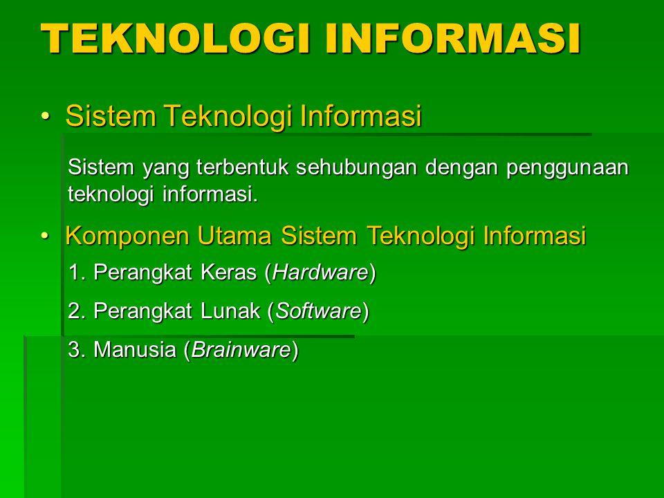TEKNOLOGI INFORMASI Sistem Teknologi Informasi Sistem yang terbentuk sehubungan dengan penggunaan teknologi informasi. Komponen Utama Sistem Teknologi