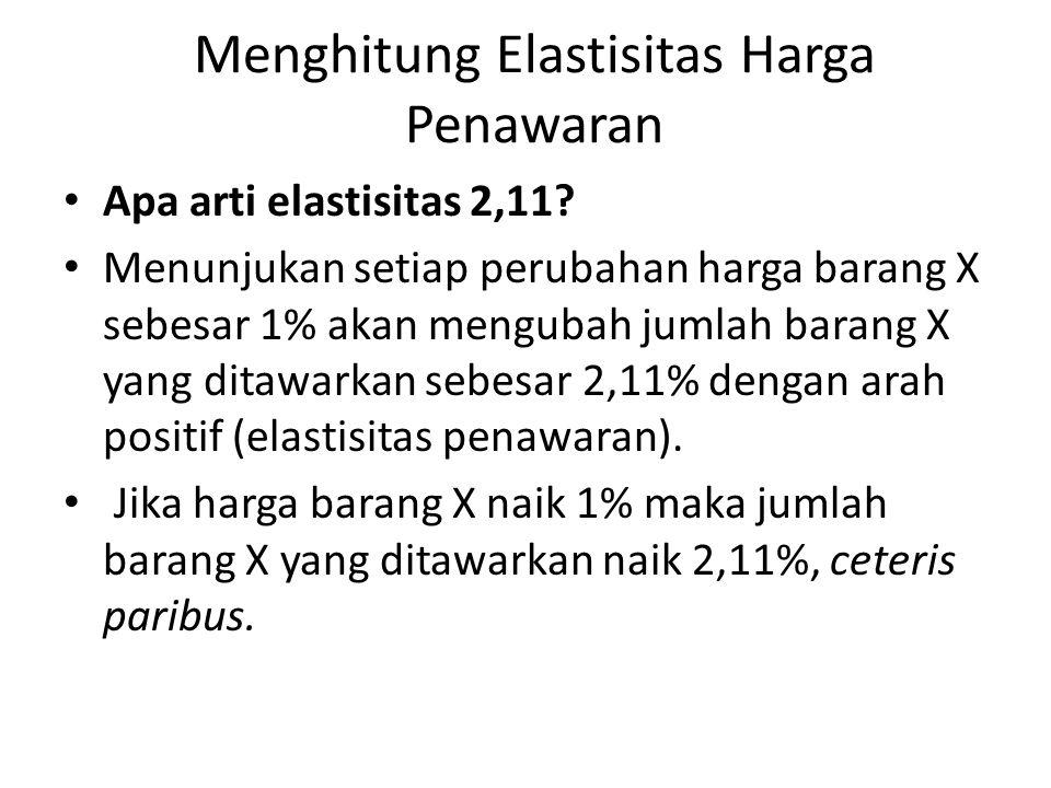 Menghitung Elastisitas Harga Penawaran Apa arti elastisitas 2,11.