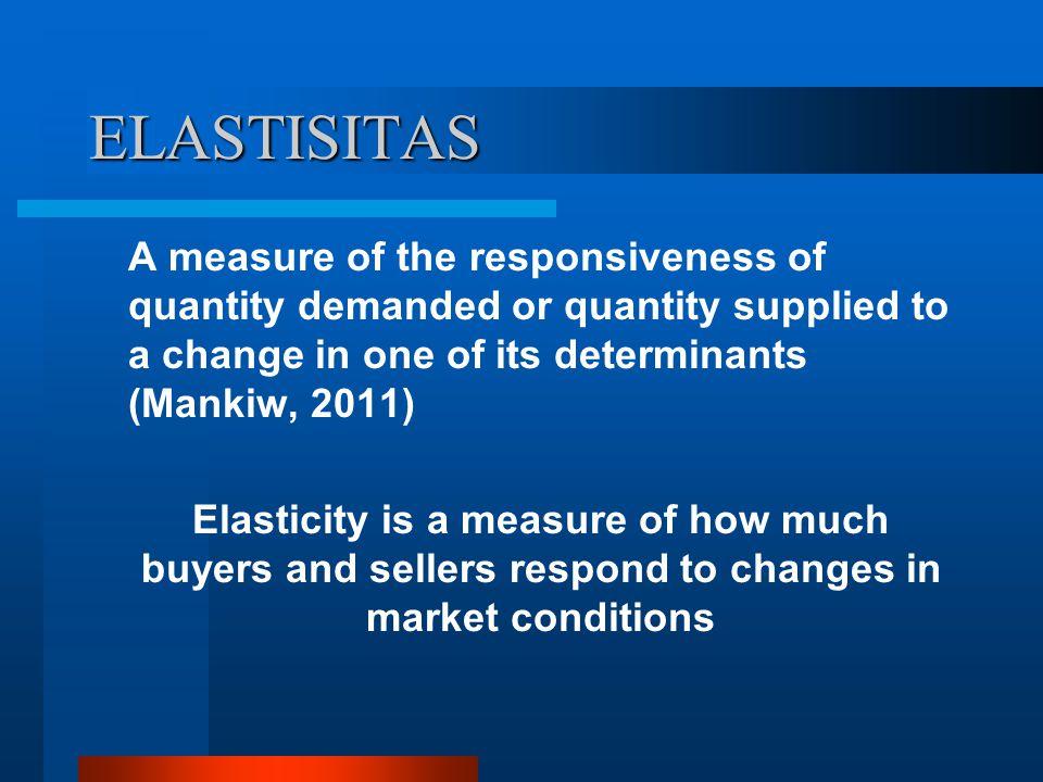 ELASTISITAS Apabila perubahan harga yang kecil menimbulkan perubahan yang besar terhadap jumlah barang yang diminta, maka dikatakan bahwa permintaan barang tersebut bersifat sangat responsif terhadap harga, atau permintaannya adalah elastis.