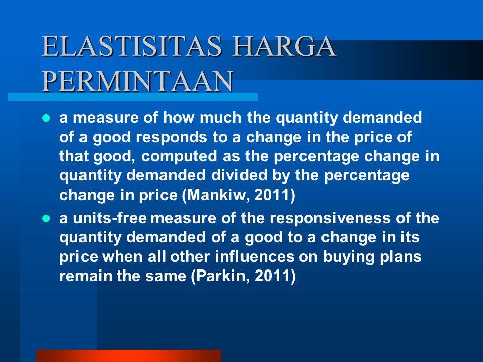 ELASTISITAS HARGA PERMINTAAN Ukuran seberapa besar perubahan jumlah permintaan barang akibat harga barang tersebut berubah sebesar 1%.