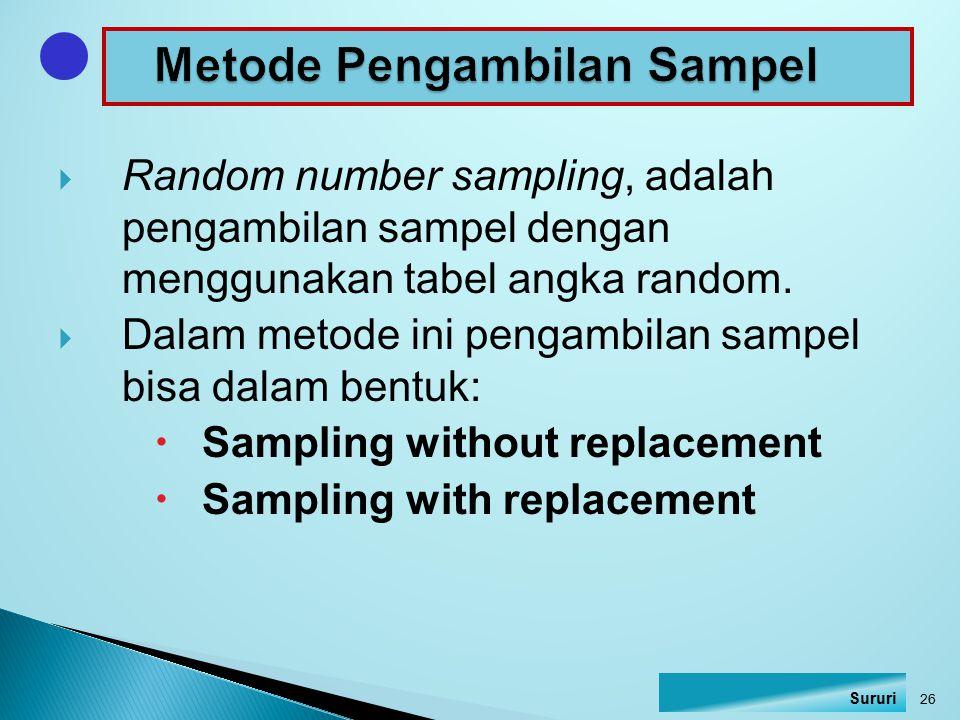  Random number sampling, adalah pengambilan sampel dengan menggunakan tabel angka random.  Dalam metode ini pengambilan sampel bisa dalam bentuk: 