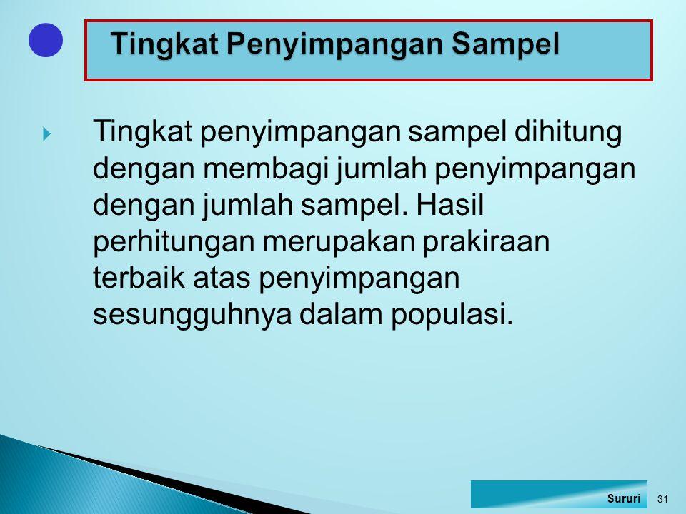  Tingkat penyimpangan sampel dihitung dengan membagi jumlah penyimpangan dengan jumlah sampel. Hasil perhitungan merupakan prakiraan terbaik atas pen
