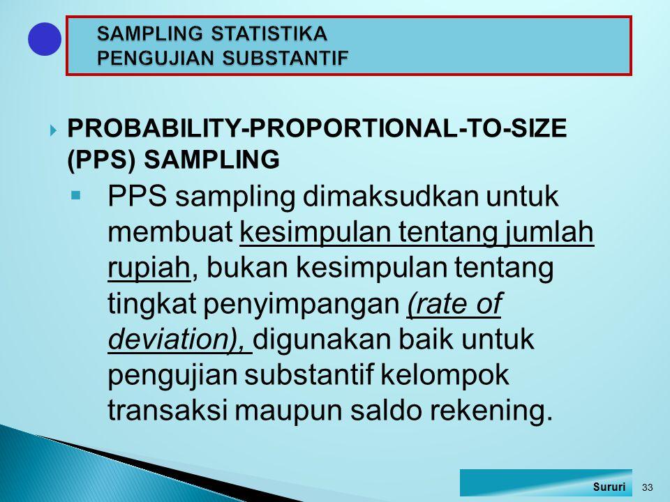  PROBABILITY-PROPORTIONAL-TO-SIZE (PPS) SAMPLING  PPS sampling dimaksudkan untuk membuat kesimpulan tentang jumlah rupiah, bukan kesimpulan tentang