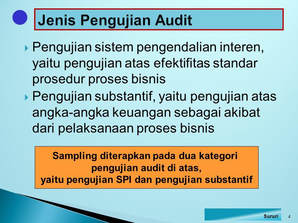  Pengujian sistem pengendalian interen, yaitu pengujian atas efektifitas standar prosedur proses bisnis  Pengujian substantif, yaitu pengujian atas