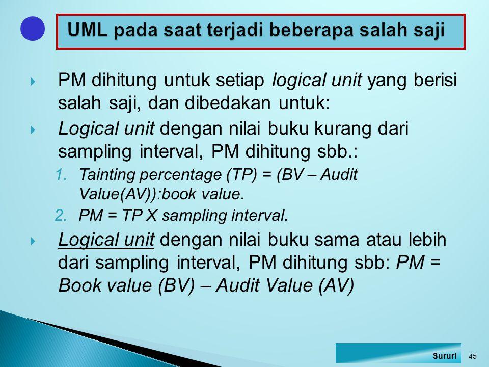 PM dihitung untuk setiap logical unit yang berisi salah saji, dan dibedakan untuk:  Logical unit dengan nilai buku kurang dari sampling interval, P