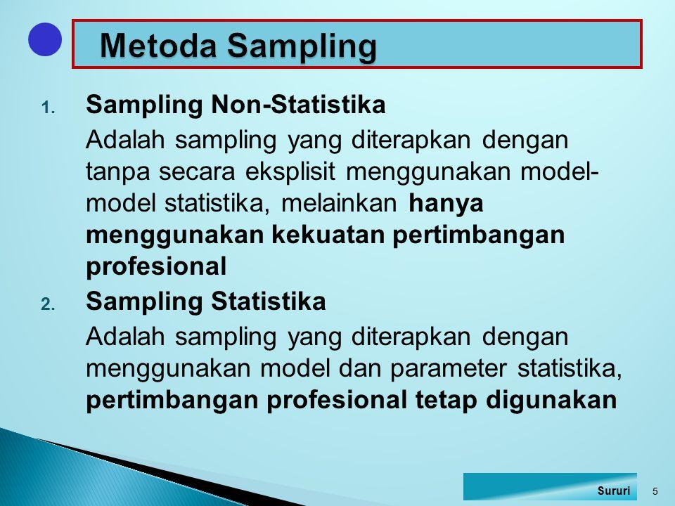 1. Sampling Non-Statistika Adalah sampling yang diterapkan dengan tanpa secara eksplisit menggunakan model- model statistika, melainkan hanya mengguna