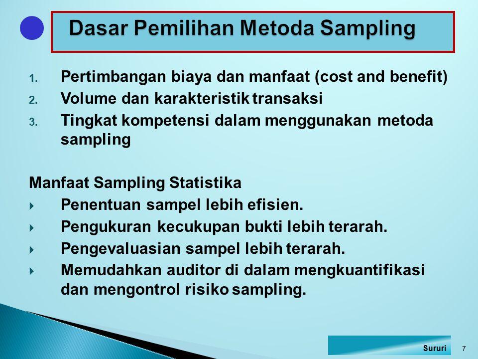 1. Pertimbangan biaya dan manfaat (cost and benefit) 2. Volume dan karakteristik transaksi 3. Tingkat kompetensi dalam menggunakan metoda sampling Man