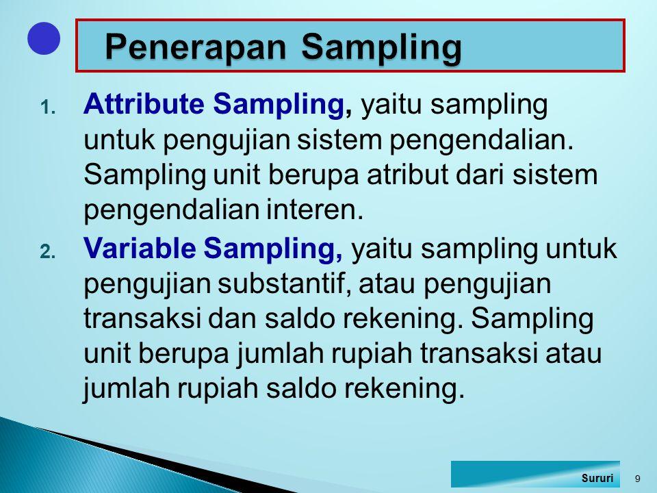 1. Attribute Sampling, yaitu sampling untuk pengujian sistem pengendalian. Sampling unit berupa atribut dari sistem pengendalian interen. 2. Variable