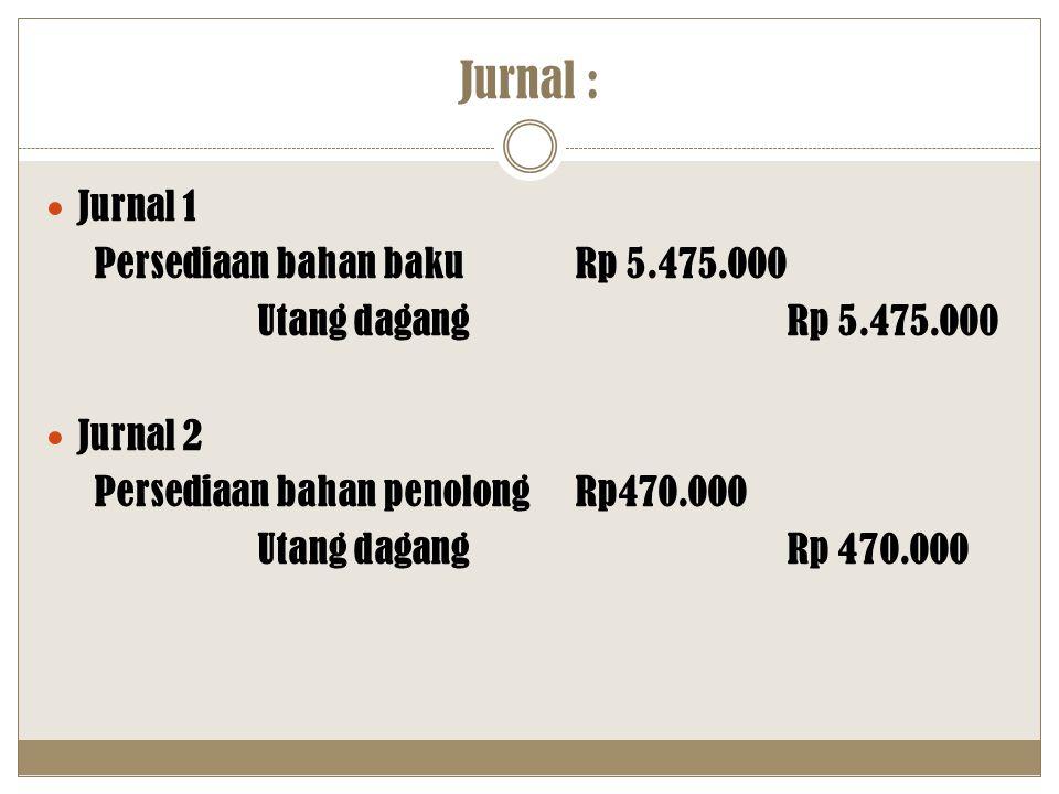 Jurnal : Jurnal 1 Persediaan bahan bakuRp 5.475.000 Utang dagang Rp 5.475.000 Jurnal 2 Persediaan bahan penolongRp470.000 Utang dagang Rp 470.000