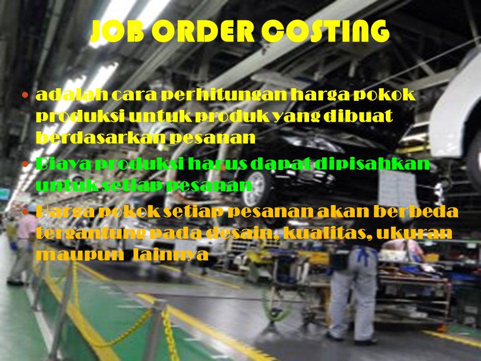 adalah cara perhitungan harga pokok produksi untuk produk yang dibuat berdasarkan pesanan Biaya produksi harus dapat dipisahkan untuk setiap pesanan H