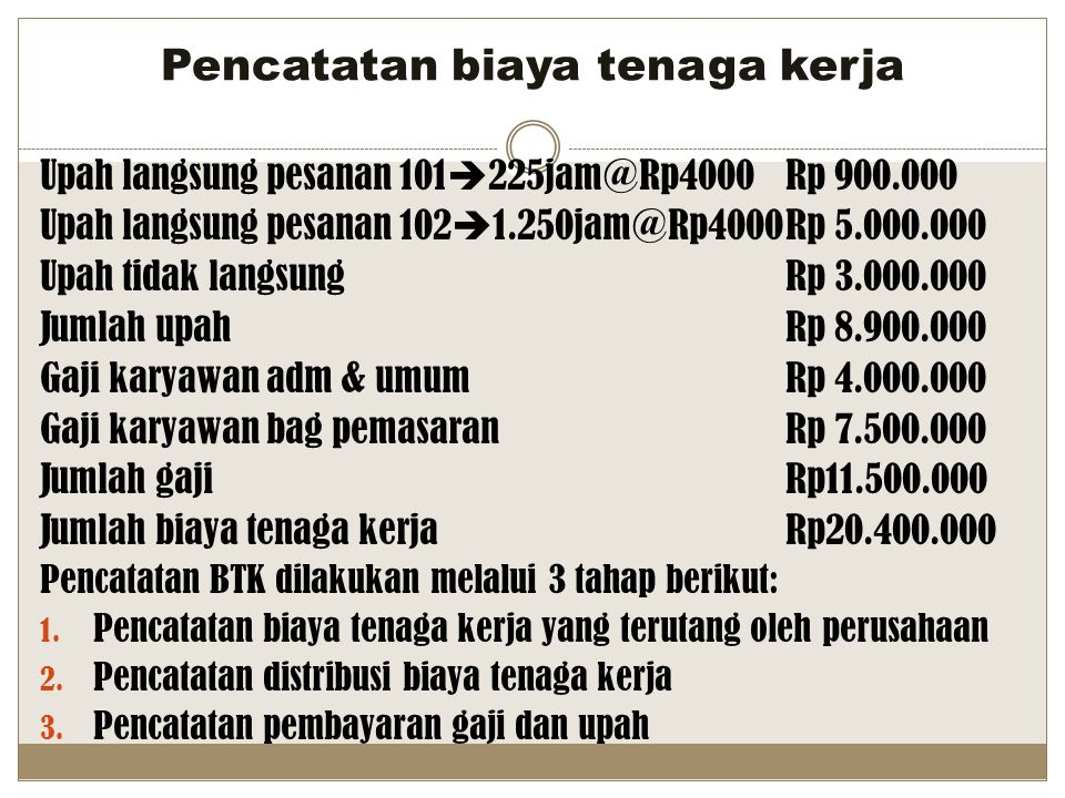 Pencatatan biaya tenaga kerja Upah langsung pesanan 101  225jam@Rp4000Rp 900.000 Upah langsung pesanan 102  1.250jam@Rp4000Rp 5.000.000 Upah tidak l