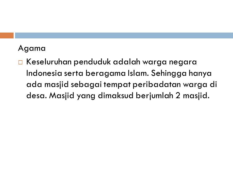 Agama  Keseluruhan penduduk adalah warga negara Indonesia serta beragama Islam. Sehingga hanya ada masjid sebagai tempat peribadatan warga di desa. M