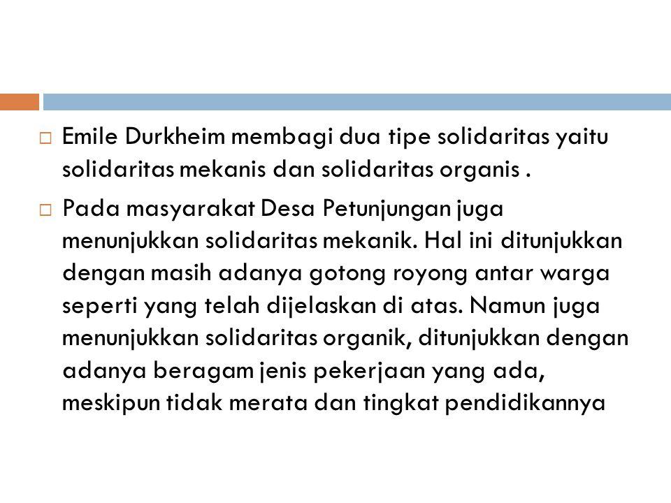  Emile Durkheim membagi dua tipe solidaritas yaitu solidaritas mekanis dan solidaritas organis.  Pada masyarakat Desa Petunjungan juga menunjukkan s