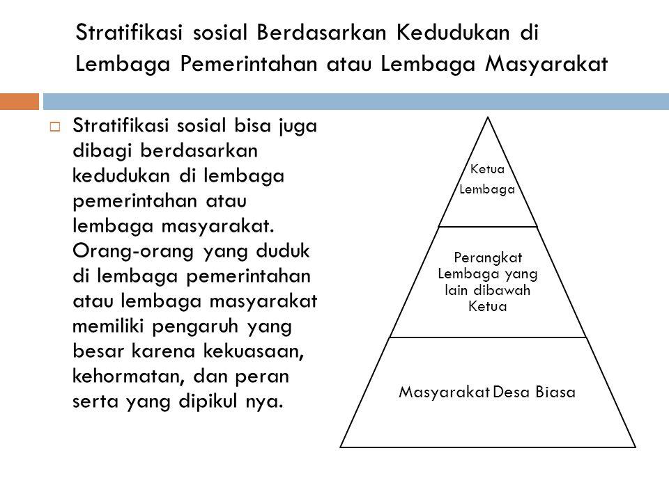 Stratifikasi sosial Berdasarkan Kedudukan di Lembaga Pemerintahan atau Lembaga Masyarakat  Stratifikasi sosial bisa juga dibagi berdasarkan kedudukan