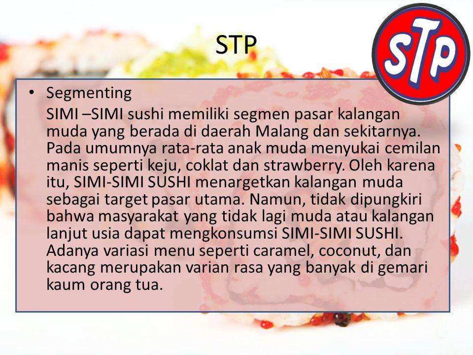 STP Segmenting SIMI –SIMI sushi memiliki segmen pasar kalangan muda yang berada di daerah Malang dan sekitarnya.