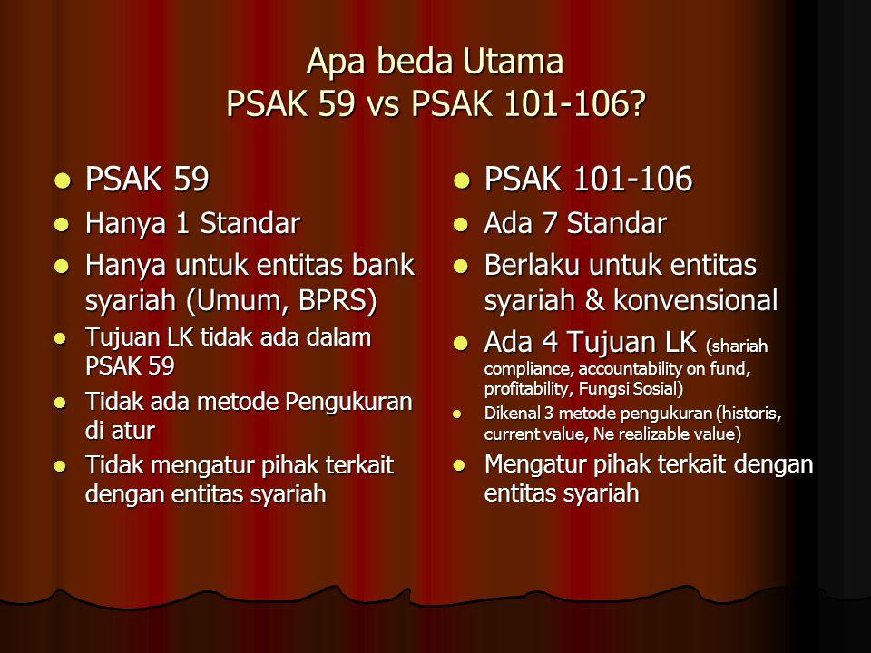 Apa beda Utama PSAK 59 vs PSAK 101-106? PSAK 59 PSAK 59 Hanya 1 Standar Hanya 1 Standar Hanya untuk entitas bank syariah (Umum, BPRS) Hanya untuk enti