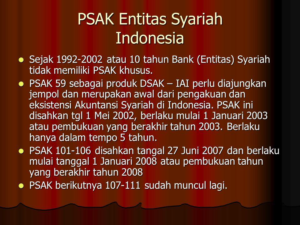 PSAK Entitas Syariah Indonesia Sejak 1992-2002 atau 10 tahun Bank (Entitas) Syariah tidak memiliki PSAK khusus. Sejak 1992-2002 atau 10 tahun Bank (En