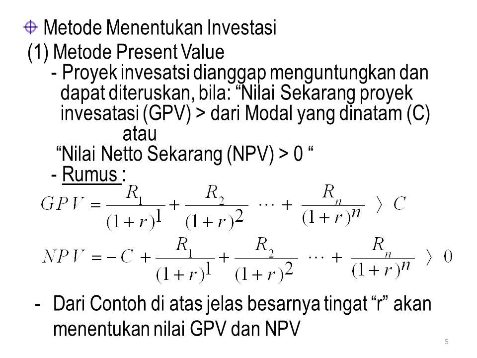 Metode Menentukan Investasi (1) Metode Present Value - Proyek invesatsi dianggap menguntungkan dan dapat diteruskan, bila: Nilai Sekarang proyek invesatasi (GPV) > dari Modal yang dinatam (C) atau Nilai Netto Sekarang (NPV) > 0 - Rumus : -Dari Contoh di atas jelas besarnya tingat r akan menentukan nilai GPV dan NPV 5