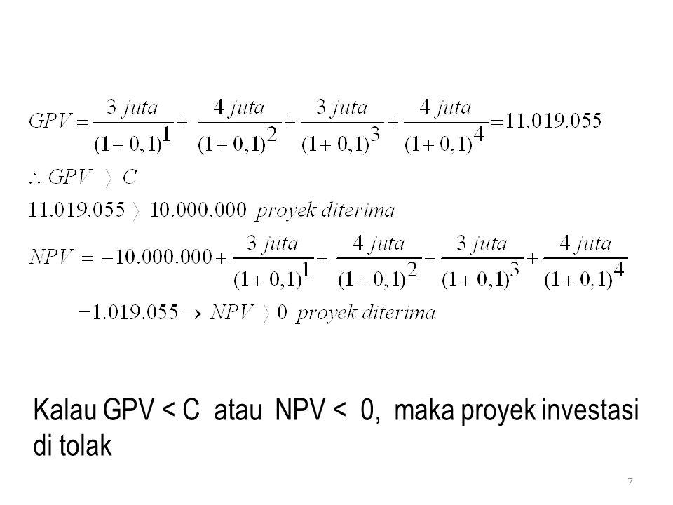 2) METODE MEC Pendekatan ini sering juga disebut : Internal Rate of Return Langkah-Langkah : - Menentukan besarnya MEC - Membandingkan MEC dan Tingkat Bunga (r) Bila MEC > r → proyek diterima Bila MEC < r → proyek ditolak Definisi MEC adalah tingkat diskonto yang menya- makan GPV proyek investasi dengan besarnya modal untuk investasi Jadi, MEC merpakan tingkat diskonto yang menghasilkan nilai NPV proyek investas sama dengan nol (NPV = 0) 8