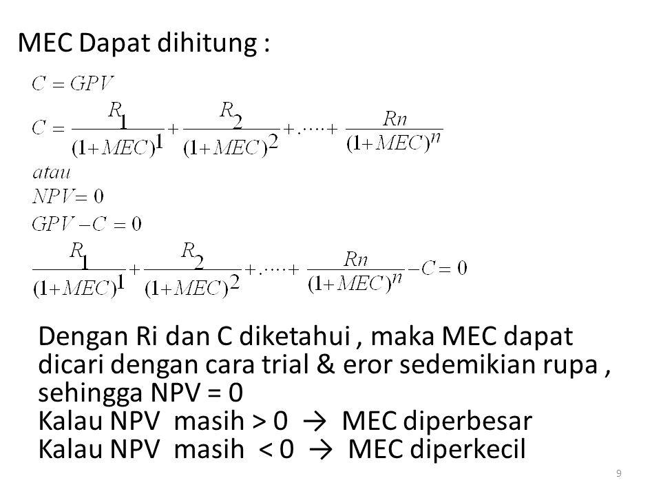 MEC Dapat dihitung : Dengan Ri dan C diketahui, maka MEC dapat dicari dengan cara trial & eror sedemikian rupa, sehingga NPV = 0 Kalau NPV masih > 0 → MEC diperbesar Kalau NPV masih < 0 → MEC diperkecil 9