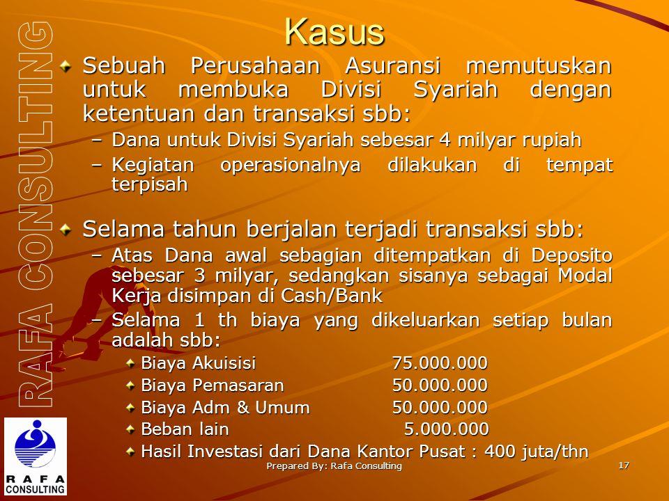 Prepared By: Rafa Consulting 17 Kasus Sebuah Perusahaan Asuransi memutuskan untuk membuka Divisi Syariah dengan ketentuan dan transaksi sbb: –Dana unt