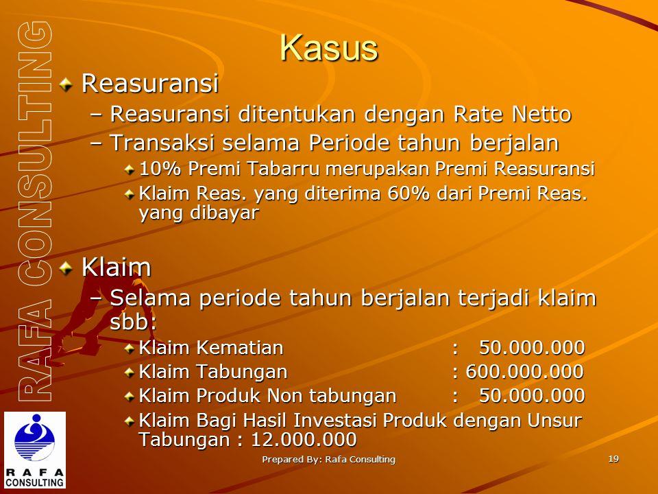 Prepared By: Rafa Consulting 19 Kasus Reasuransi –Reasuransi ditentukan dengan Rate Netto –Transaksi selama Periode tahun berjalan 10% Premi Tabarru merupakan Premi Reasuransi Klaim Reas.
