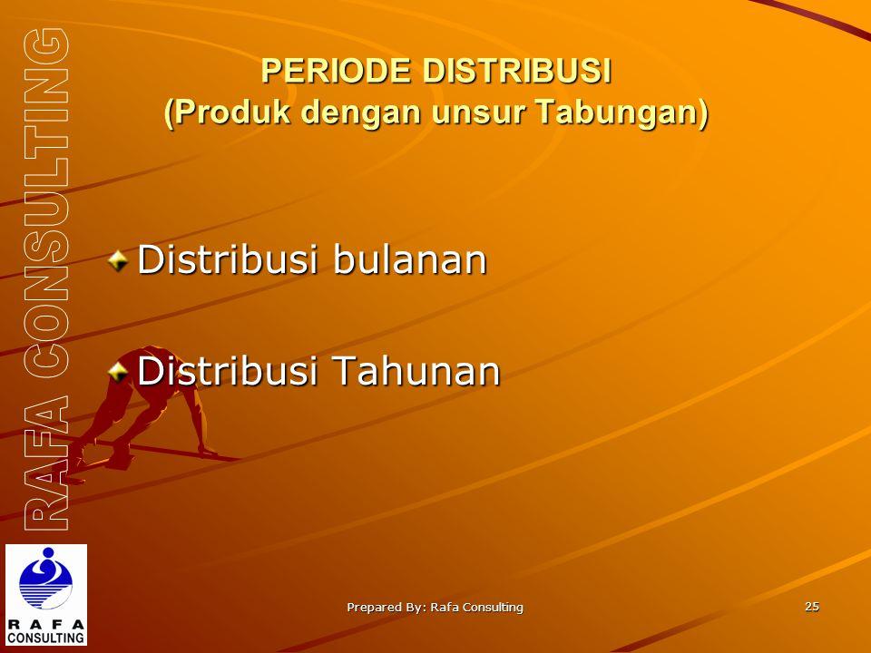 Prepared By: Rafa Consulting 25 PERIODE DISTRIBUSI (Produk dengan unsur Tabungan) Distribusi bulanan Distribusi Tahunan