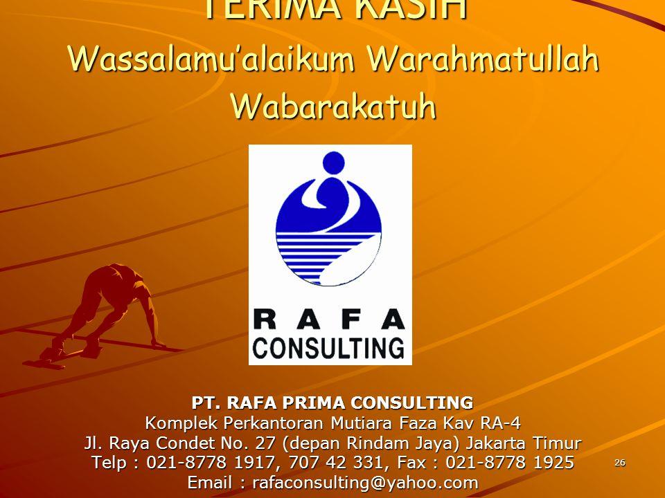 26 PT. RAFA PRIMA CONSULTING Komplek Perkantoran Mutiara Faza Kav RA-4 Jl. Raya Condet No. 27 (depan Rindam Jaya) Jakarta Timur Telp : 021-8778 1917,