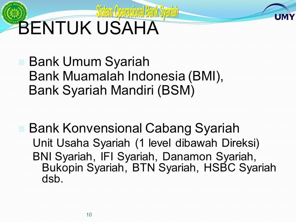9 Kelembagaan Bank Syariah Pasal 16 UU No.10 Tahun 1998: Persyaratan dan tatacara pendirian bank umum dan BPR Syariah ditetapkan oleh Bank Indonesia S