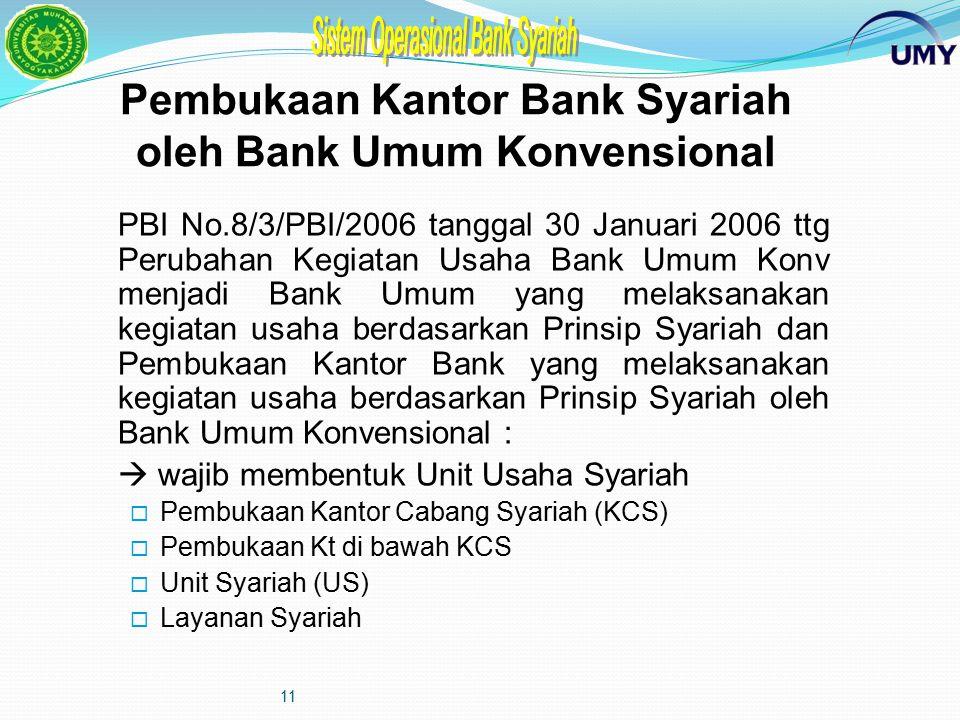 10 BENTUK USAHA Bank Umum Syariah Bank Muamalah Indonesia (BMI), Bank Syariah Mandiri (BSM) Bank Konvensional Cabang Syariah Unit Usaha Syariah (1 lev
