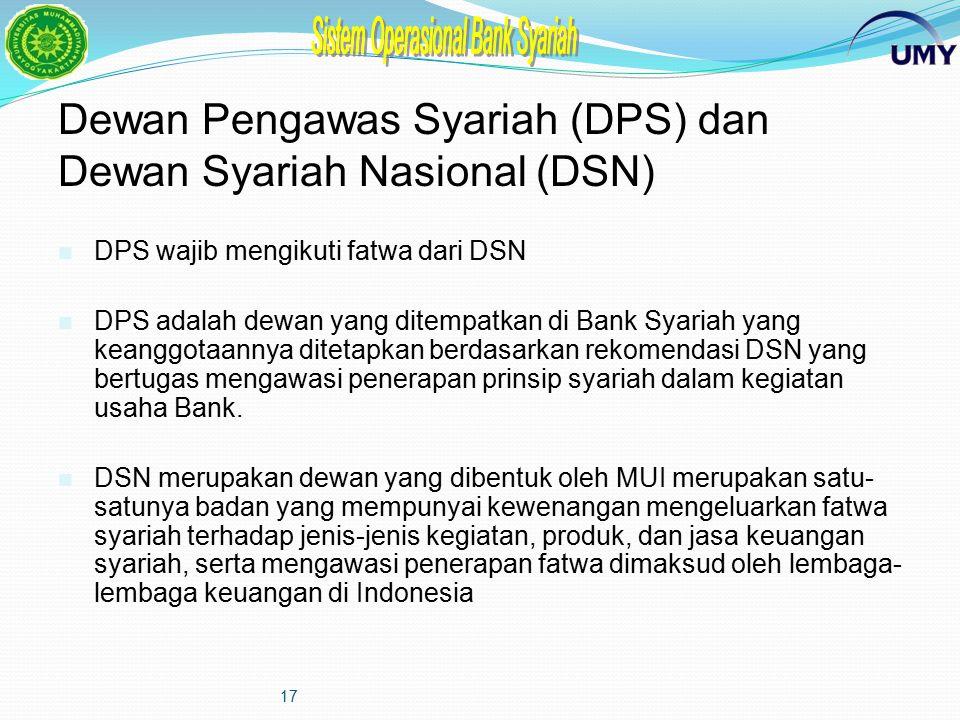 16 Dewan Pengawas Syariah (DPS) dan Dewan Syariah Nasional (DSN) Dalam rangka menjaga kegiatan usaha bank syariah agar senantiasa berjalan sesuai deng