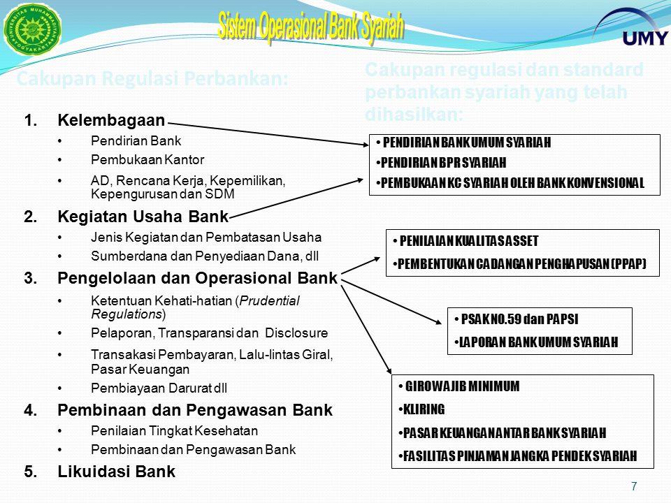 Cakupan Regulasi Perbankan: 7 1.Kelembagaan Pendirian Bank Pembukaan Kantor AD, Rencana Kerja, Kepemilikan, Kepengurusan dan SDM 2.Kegiatan Usaha Bank Jenis Kegiatan dan Pembatasan Usaha Sumberdana dan Penyediaan Dana, dll 3.Pengelolaan dan Operasional Bank Ketentuan Kehati-hatian (Prudential Regulations) Pelaporan, Transparansi dan Disclosure Transakasi Pembayaran, Lalu-lintas Giral, Pasar Keuangan Pembiayaan Darurat dll 4.Pembinaan dan Pengawasan Bank Penilaian Tingkat Kesehatan Pembinaan dan Pengawasan Bank 5.Likuidasi Bank Cakupan regulasi dan standard perbankan syariah yang telah dihasilkan: PENDIRIAN BANK UMUM SYARIAH PENDIRIAN BPR SYARIAH PEMBUKAAN KC SYARIAH OLEH BANK KONVENSIONAL PENILAIAN KUALITAS ASSET PEMBENTUKAN CADANGAN PENGHAPUSAN (PPAP) PSAK NO.59 dan PAPSI LAPORAN BANK UMUM SYARIAH GIRO WAJIB MINIMUM KLIRING PASAR KEUANGAN ANTAR BANK SYARIAH FASILITAS PINJAMAN JANGKA PENDEK SYARIAH