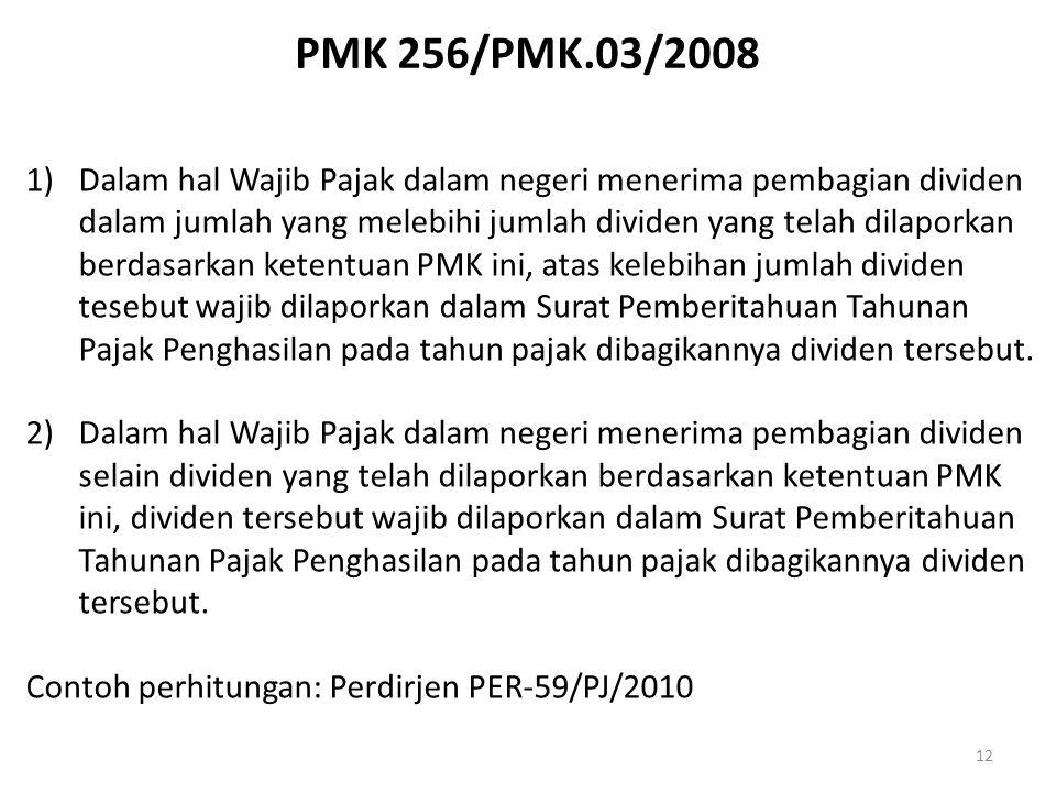 PMK 256/PMK.03/2008 12 1)Dalam hal Wajib Pajak dalam negeri menerima pembagian dividen dalam jumlah yang melebihi jumlah dividen yang telah dilaporkan