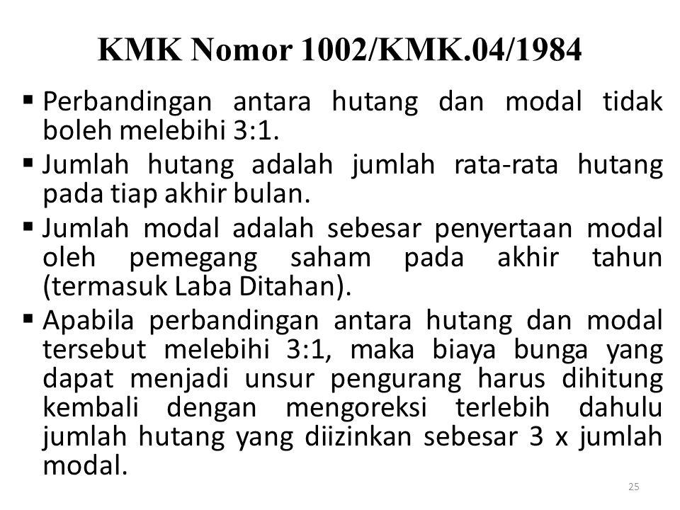 KMK Nomor 1002/KMK.04/1984 25  Perbandingan antara hutang dan modal tidak boleh melebihi 3:1.  Jumlah hutang adalah jumlah rata-rata hutang pada tia