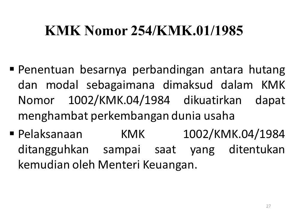 KMK Nomor 254/KMK.01/1985 27  Penentuan besarnya perbandingan antara hutang dan modal sebagaimana dimaksud dalam KMK Nomor 1002/KMK.04/1984 dikuatirk